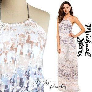 Michael Stars maxi dress halter printed belt med